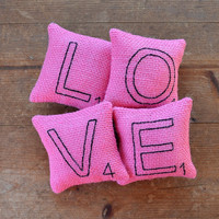 Scrabble Letter LOVE Pillows, Pink Burlap - Bowl Fillers, Ornaments, Valentines Day, Wedding, Home Decor