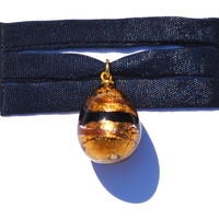 Murano's Droplet, Variation of Black on Gold, Wrist