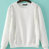 White Diamond Patterned Long Sleeve Sweatshirt with Beads