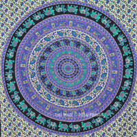 Twin Small Elephant Mandala Boho Tapestry Wall Hanging Cotton Bedspread on RoyalFurnish.com