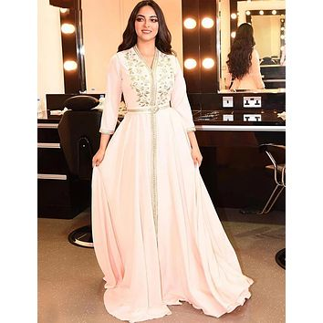 Elegant Pearl Pink Moroccan Kaftan Evening Dresses Long Prom Dress 2020 Embroidery A-Line Full Sleeve Arabic Muslim Formal Gowns