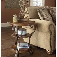 Brown End Table Wood Round Living Room Decor Luxury Accent Traditional New