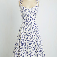 Nautical Long Sleeveless A-line What a Catch! Dress by ModCloth