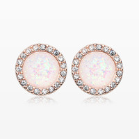 A Pair of Rose Gold Round Crown Opal Jeweled Ear Stud Earrings