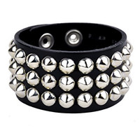 "Silver Cone Studs Quality Leather Wristband 1-1/4"" Wide Metal"