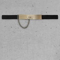 Express Edition Stretch Plaque Belt With Chain Fob from EXPRESS