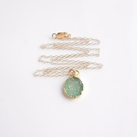 Green Druzy Necklace in Gold