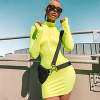 2020 summer new women's semi-open collar long-sleeved solid color bag hip slim mid-length dress flourescent green