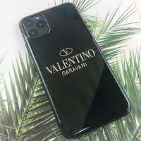 Valentino New fashion letter print couple protective cover phone case Black