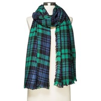 Plaid Blanket Scarf Navy (One Size, GREEN NAVY)