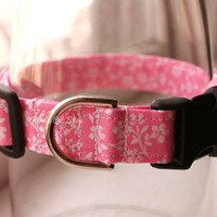 Handmade Dog/Cat Collar - Pale Pink & White Floral - Adjustable Buckle - Fabric Dog Accessory - Pet Accessories - Breakaway Cat Collar