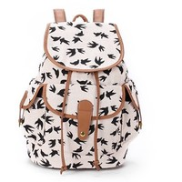FunShop Women's Full Swallows Print Canvas School Bag Travel Backpack D1117