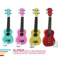 Quality 21 inch colorful basswood Ukulele for novice Guitar learner low price new year gift hot sale