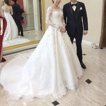 Robe de mariee New Gorgeous Long Wedding Dress 2019 O-Neck Long Sleeves Chapel Train A-Line Appliques Tulle Bride Gowns
