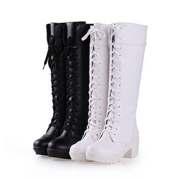 Lace Up Knee High Boots High Heels Women Shoes Fall Winter 6590