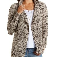 Marled Cascade Cardigan Sweater by Charlotte Russe - Ivory Combo