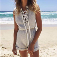Gray Lace Up Sleeveless Top with Shorts