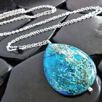 Ocean Jasper and Sterling Silver Pendant Necklace, Extra Long Necklace, Natural Blue Gemstone, Boho Necklace, Layering Necklace