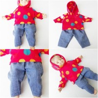 """Bitty Baby Clothes, fits 15"""" boy doll,Red Polka Dot Hoodie Pants, HANDMADE, new"""