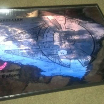 Framed spec plate chrome metal plans to Star Wars Millennium Falcon Han Solo