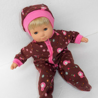 """Bitty Baby Doll Clothes Twin Girl Baby Doll 15"""" American Girl 3 STYLES options Brown Bird Owl Pajamas with / without Hat Cotton Knit Zip Up"""
