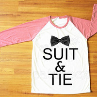 Suit&Tie Shirt Justin Timberlake Shirt Text Shirt Hippie Shirt Pink Sleeve Tee Shirt Women Shirt Men Shirt Unisex Shirt Baseball Shirt S,M,L