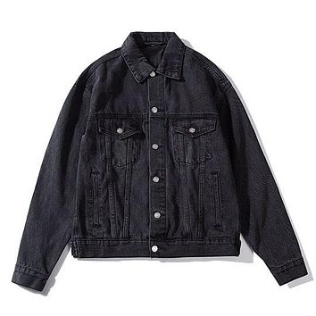 Balenciaga Women Simple Long Sleeve Denim Cardigan Jacket Coat