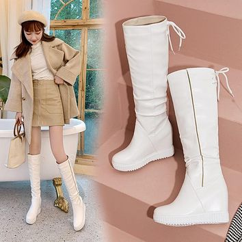 Women's Platform Wedges Knee High Boots