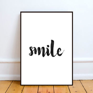 Smile printable art,Graphic poster,Wall decor,Home decor,Office decor,Wall hanging,Word art,Watercolor typography.Instant download