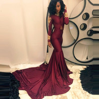 African Burgundy Long Sleeve Mermaid Prom Dresses 2016 Gold Appliques Chapel Train abendkleider 2016 kristall neue custom made