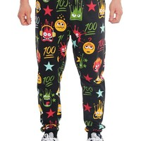 WTFLOL Emoji Print French Terry Jogger Pants