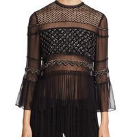 Elie Tahari Aislin Embellished Mixed Media Blouse | Bloomingdales's