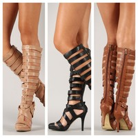 Knee High Strappy Gladiator High Heel Pointy Toe Shoes Stilettos Sandals