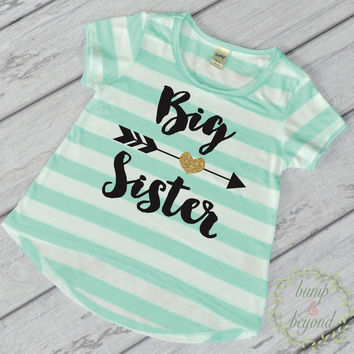 Big Sister Shirt Big Sister Little Sister Outfits Big Sister Gift Big Sister Announcement Shirt Green T-Shirt Big Sis Photo Prop 037