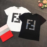 FENDI Summer Popular Casual Double F Letter Round Collar T-Shirt Top Blouse