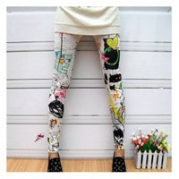 Punk Style Scrawl Color Print Pattern Elastic Cotton Leggings - Sammydress.com