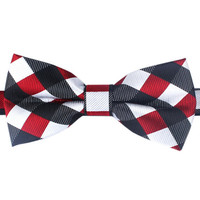Men's Bow Tie Pre-Tied Dark Maroon Black Checkered Gingham (X032-BT) Bowtie Neck Bow Ties Bowties Men Tuxedo Wedding Formal Necktie Neckties