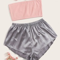 Ribbed Bandeau Top With Satin Shorts PJ Set