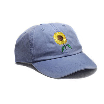 Sunflower embroidered hat, baseball cap, flower, gardening hat, sun cap, fall hat, floral hat, garden cap, autumn hat, garden cap