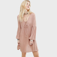 Plus Size Lantern Sleeve Sexy Deep V-neck Chiffon Lady Dress LAVELIQ