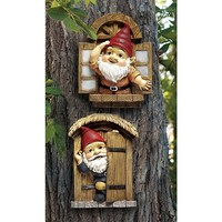 SheilaShrubs.com: The Knothole Gnomes Garden Welcome Tree Sculpture: Window & Door Gnomes QL94281 by Design Toscano: Gnomes