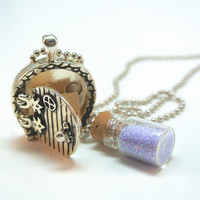 Fairy Wish Door Locket- Fairy Dust Mini Bottle Necklace and Fairy Door Charm with Magical Saying Inside