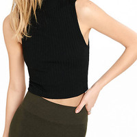 Express One Eleven Black Ribbed Mock Neck Tank from EXPRESS