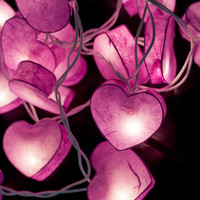 20 Purple Heart Paper Lantern String Lights for Party Wedding and Decorations