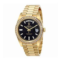 DCCK Rolex Oyster Perpetual Day-Date Black Dial Automatic Mens Yellow Gold President Watch 228348BKDP
