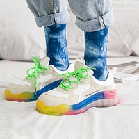 inseva BALENCIAGA 19SS Triples Colorful Rainbow Color Shoes Daddy Shoes