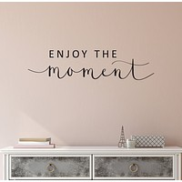 Vinyl Wall Decal Inspirational Quote Phrase Inspire Words Enjoy The Moment Stickers ig6191 (22.5 in X 5.3 in)