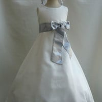 Flower Girl Satin Dress Ivory with Silver for Easter Wedding Bridesmaid