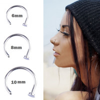 1PC Women Stainless Steel Nostril Nose Hoop Stud Ring Clip On Nose Body Jewelry Fake Piercing Jewelry 6 8 10 12mm
