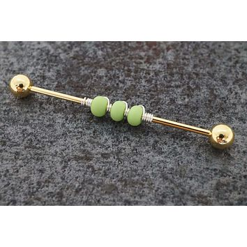 Lime Green Beaded 16g Industrial Barbell